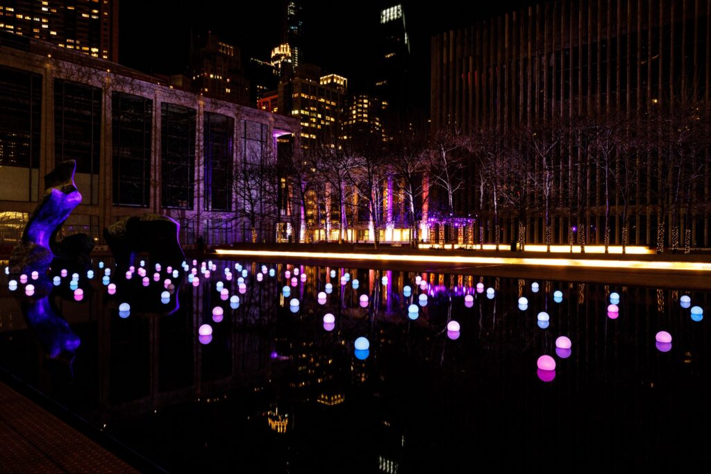 Lights from Lincoln Center, December 10, 2020. Photo by Sachyn Mital.