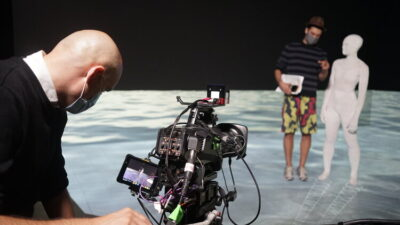 Shooting on xRStage-SF, a space for virtual production with two LED video walls and an LED floor operated by WorldStage and Intrepid Studios in San Rafael, CA.